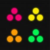 Munition vier Farben leuchtenden Neon-Vektor-Symbol