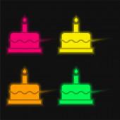 Narozeninový dort čtyři barvy zářící neonový vektor ikona