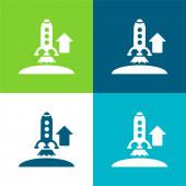 Vzestupně Raketa Flat čtyři barvy minimální ikona nastavena