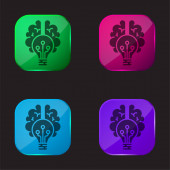 Ikona tlačítka Brain four color glass
