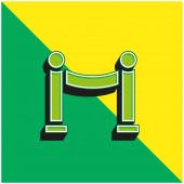 Akadály Zöld és sárga modern 3D vektor ikon logó