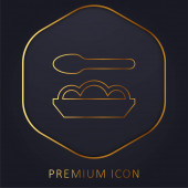 Baby Food golden line premium logo or icon
