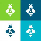 Včela Byt čtyři barvy minimální ikona nastavena
