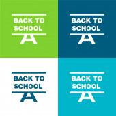 Vissza az iskolába Lapos négy szín minimális ikon készlet
