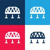 Most modrá a červená čtyři barvy minimální ikona nastavena