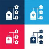 Bio Energy blau und rot vier Farben minimales Symbol-Set