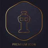 Letiště Control Tower zlatá čára prémie logo nebo ikona