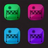Beach volejbal čtyři barvy skleněné tlačítko ikona