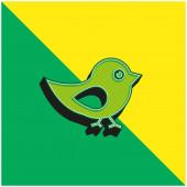 Bird Of Black And White Peří Zelené a žluté moderní 3D vektorové logo