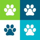 Animal Paw Print Lapos négy szín minimális ikon készlet