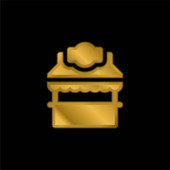 Booth gold plated metalic icon or logo vector