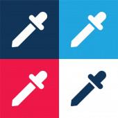 Černá kapátko modrá a červená čtyři barvy minimální ikona nastavena