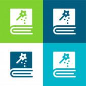 Book Flat négy szín minimális ikon készlet