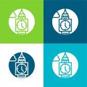 Big Ben Flat négy szín minimális ikon készlet