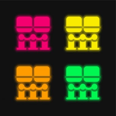 Art Museum four color glowing neon vector icon stock vector