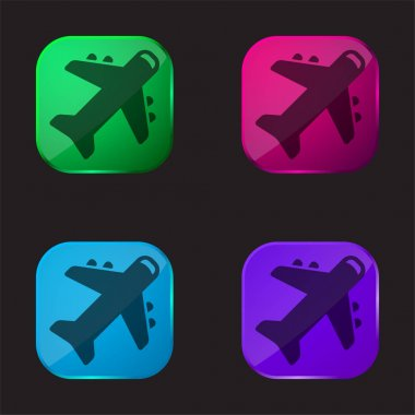 Airplane four color glass button icon stock vector