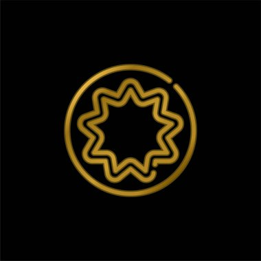 Bahaism gold plated metalic icon or logo vector stock vector