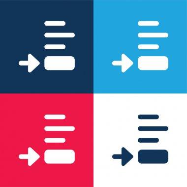 Alt Görünüm mavi ve kırmızı dört renk minimal simgesi