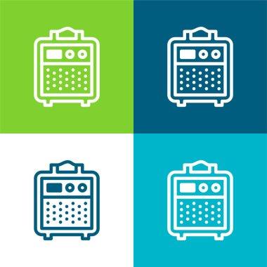 Amplifier Flat four color minimal icon set stock vector