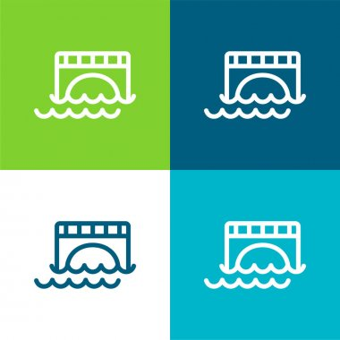 Bridge Over Water Flat four color minimal icon set stock vector