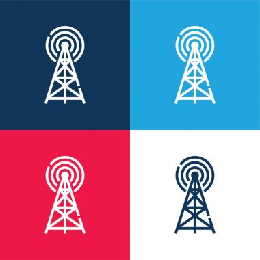 Antenna blue and red four color minimal icon set stock vector