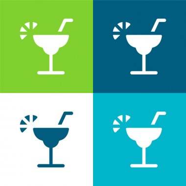 Alcohol Flat four color minimal icon set stock vector