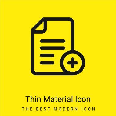 Add File minimal bright yellow material icon stock vector