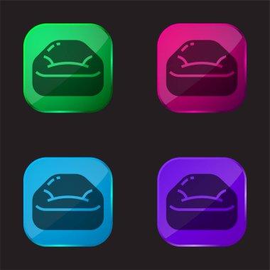 Bean Bag four color glass button icon stock vector