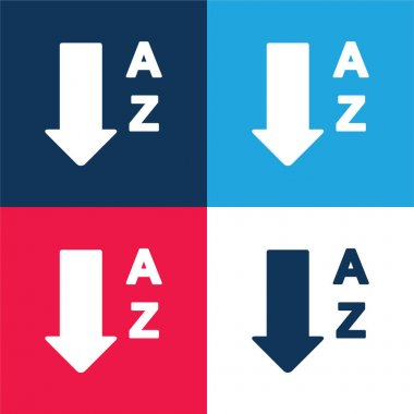 Alphabetical Order From A To Z blue and red four color minimal icon set