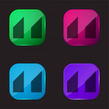 Blocks With Angled Cuts four color glass button icon