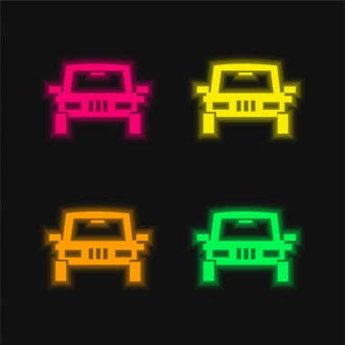 All Terrain Vehicle four color glowing neon vector icon