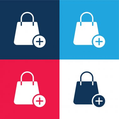 Bag blue and red four color minimal icon set stock vector