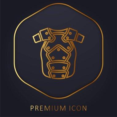 Armor golden line premium logo or icon stock vector