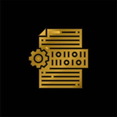Binary Code gold plated metalic icon or logo vector stock vector