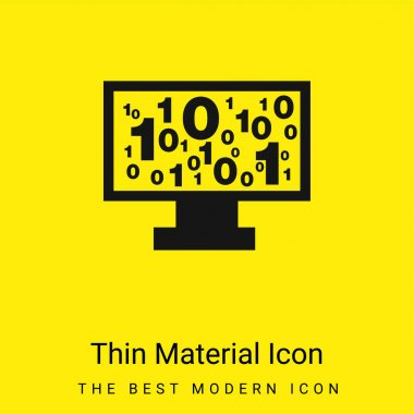 Binary Code Numbers On Monitor Screen minimal bright yellow material icon stock vector