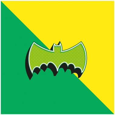 Bat With Big Wings Silhouette Green and yellow modern 3d vector icon logo stock vector