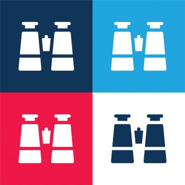 Binoculars blue and red four color minimal icon set stock vector