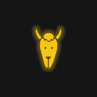 Bison Head yellow glowing neon icon stock vector