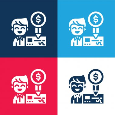 Bank Check blue and red four color minimal icon set stock vector