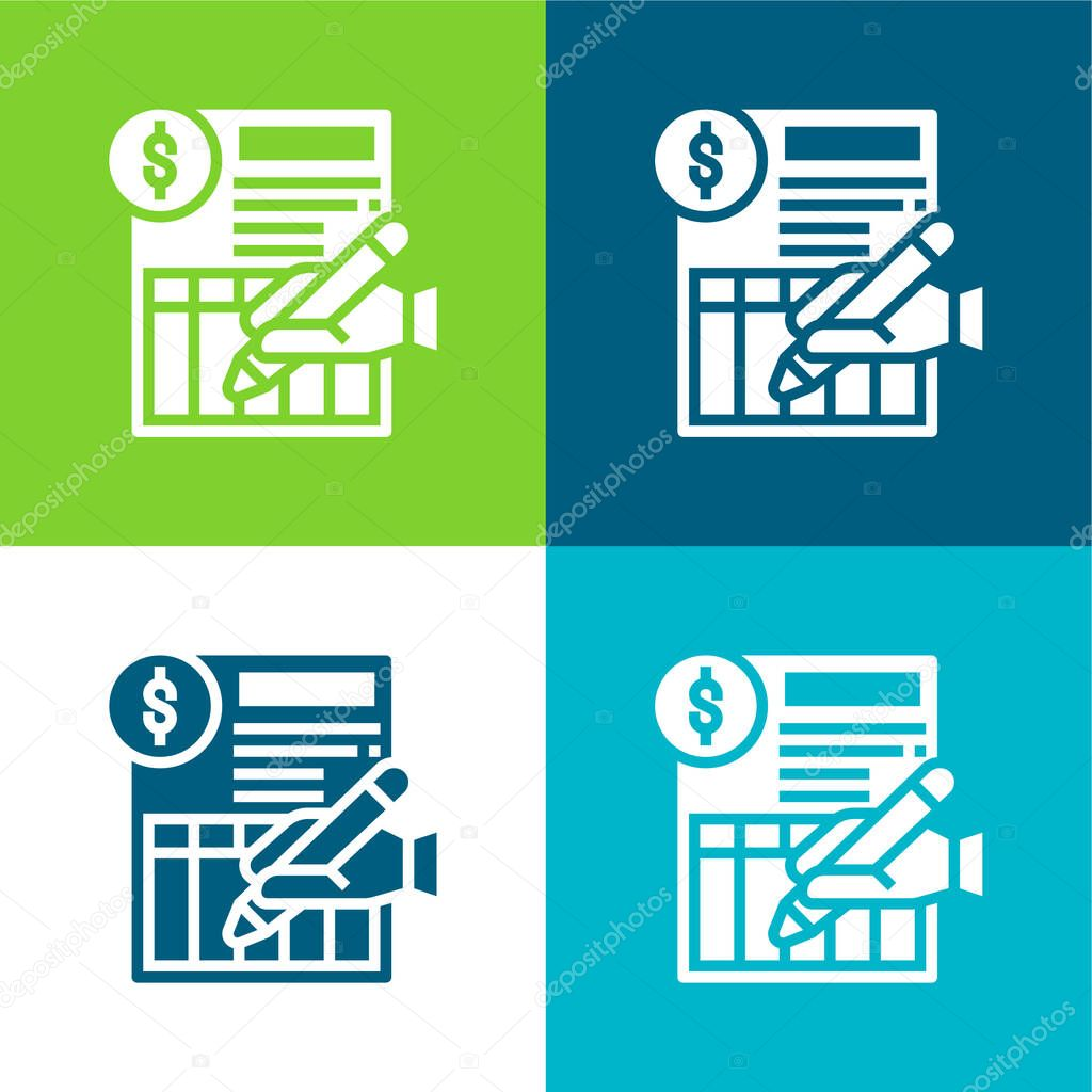 Bank Statement Flat four color minimal icon set stock vector