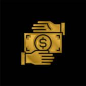 Úplatkářství pozlacené kovové ikony nebo logo vektor