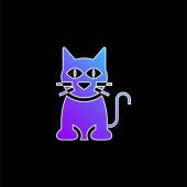 Black Cat blaues Gradienten-Vektor-Symbol