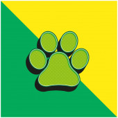 Animal Paw Print Zöld és sárga modern 3D vektor ikon logó