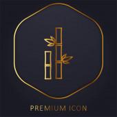 Bambus mit Blättern goldene Linie Premium-Logo oder Symbol