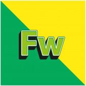 Adobe Fireworks Grünes und gelbes modernes 3D-Vektorsymbol-Logo