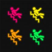 Nehoda čtyři barvy zářící neonový vektor ikona