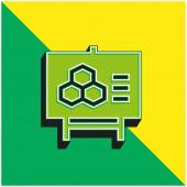 Biologie Grünes und gelbes modernes 3D-Vektor-Symbol-Logo
