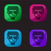 Fiú négyszínű üveg gomb ikon