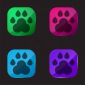 Animal Track négy színű üveg gomb ikon