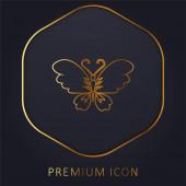 Fekete pillangó Top View nyitott szárnyakkal arany vonal prémium logó vagy ikon